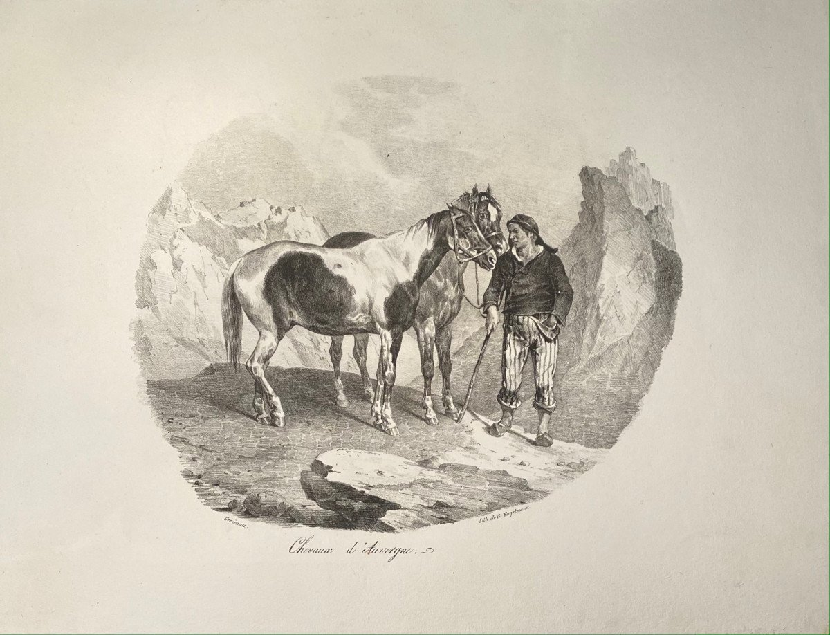 Lithographie De Gericault : Chevaux d'Auvergne