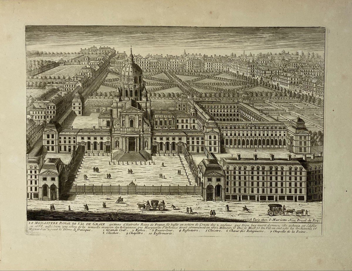 Seventeenth Engraving By Perelle: The Royal Monastery Of Val De Grace