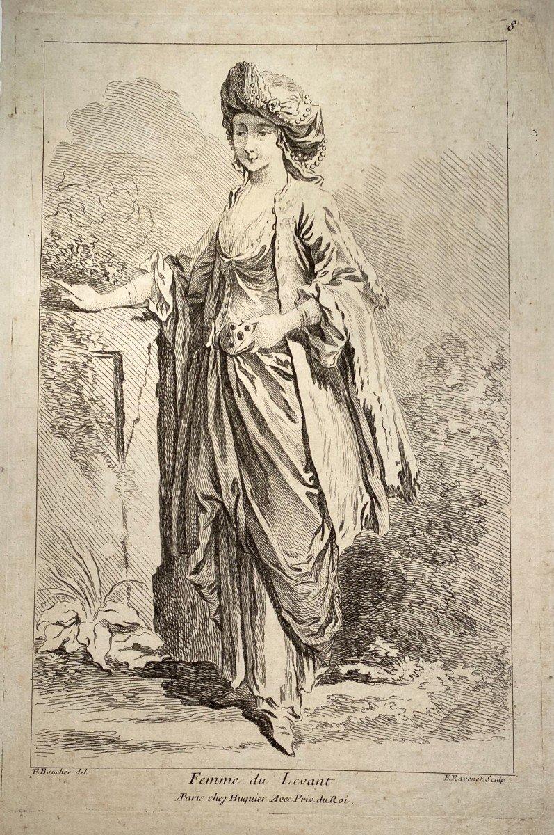 Gravure De Ravenet d'Après Boucher : Femme Du Levant