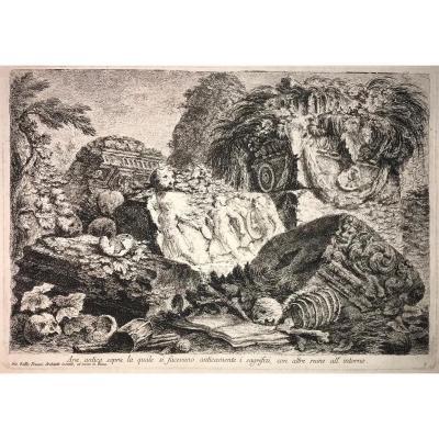 Giovanni-Battista Piranesi : Ara antica sopra la quale si facevano anticamente i sagrifizi con altre ruine all intorno
