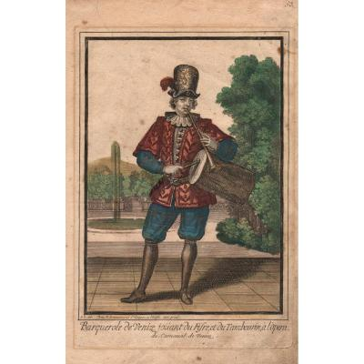 Nicolas Bonnart: Barquerole Of Venice Playing Fife And Tambourine At The Opera