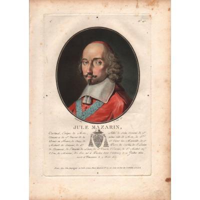 Eau-forte imprimée couleurs : portrait de Jule ( Sic ) Mazarin