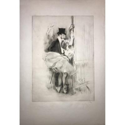 Eau-forte De Louis Legrand : Petite Marcheuse