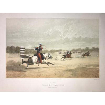 Lithographie d'Adam : Saumur Ecole De Cavalerie, Travail Individuel