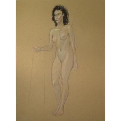 Gilbert Poillerat Drawing : Female Nude In Foot