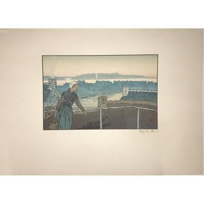 Lithographie d'Henri Rivière : Loguivy Le Soir