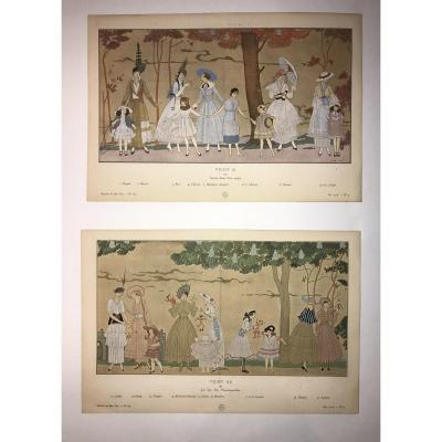 Paire De Pochoirs De Mode Par Georges Barbier