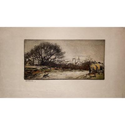 Estampe d'Armand Coussens : Route d'Avignon