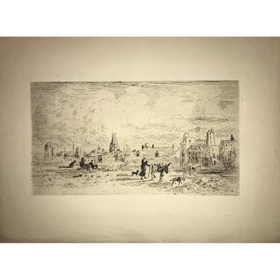 Estampe De Felix Buhot: Les Anes De Saint Médard