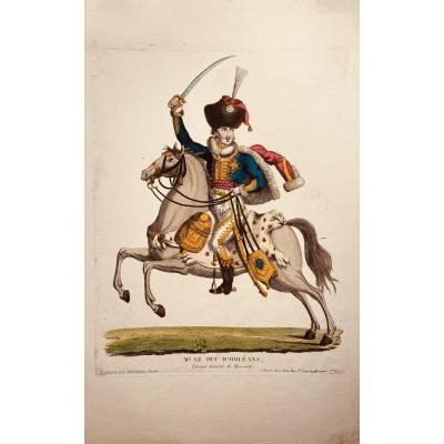 Estampe éditée Chez Jean : Mg Le Duc d'Orléans, Colonel Général de Hussards