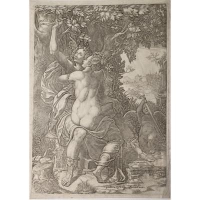 Estampe De Giorgio Ghisi : Angelique Et Medor