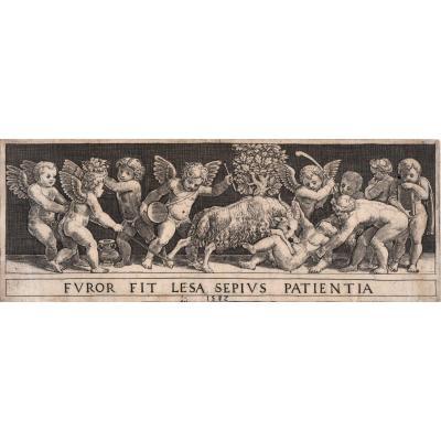 Estampe De Bernardo Daddi Dit Le Maitre Au Dé : Frise à l'enfant terrassé par un bouc