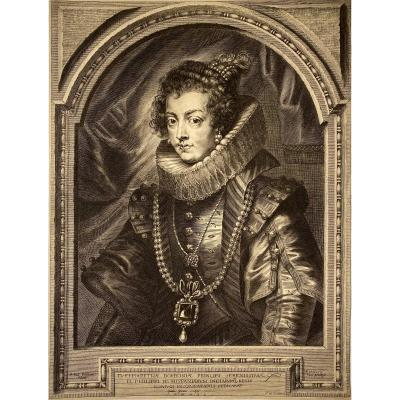 Print By Paulus Pontius After Rubens: Elisabeth De France, Queen Of Spain