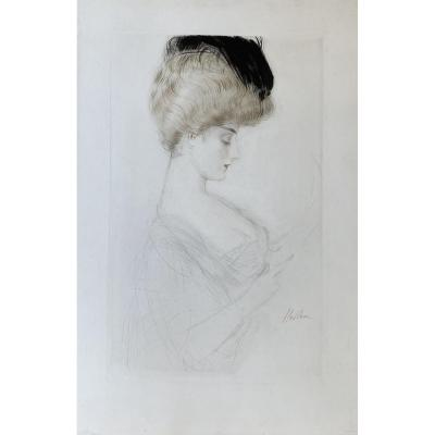 Print By Paul-césar Helleu: Woman In Bust In Profile Or Madame Letellier Reading