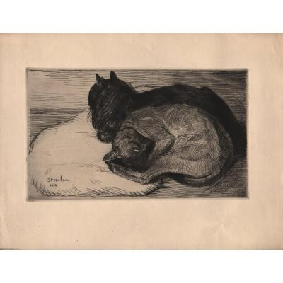 Estampe De Théophile Alexandre Steinlen : Deux Chats Dormant Sur Un Coussin
