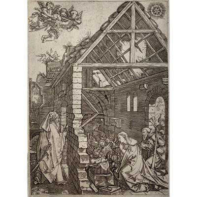 Gravure Ancienne De Raimondi : l'Adoration Des Bergers