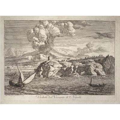 Estampe De Manglard  : Veduta Del Vesuvio Di Napoli