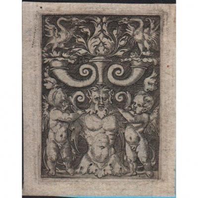 Estampe Ancienne : Ornement Avec Une Frise d'Homme A Mi-corps d'Après Beham