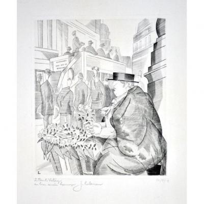 Burin De J.E Laboureur : La Marchande De Fleurs De Piccadilly avec un envoi à Paul Valery
