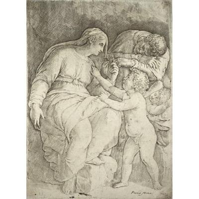 Estampe Ancienne De Giovanni-Battista Franco  : La Sainte Famille