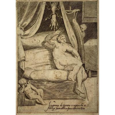 Estampe Ancienne De Bonasone : Sémélé