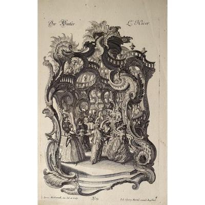 Suite Complete De Quatre Estampes XVIIIè  : Les  Saisons