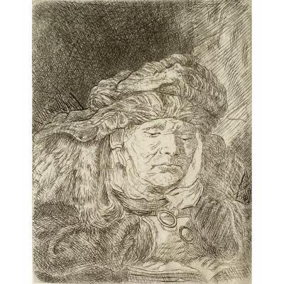 Estampe : La Vieille Femme Endormie d'Après Rembrandt
