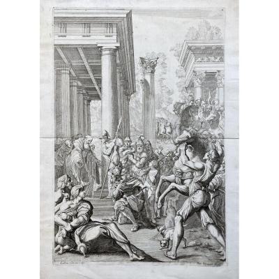 Estampe XVIIè d'Après Carracci : Badvila Ou Totila Devant Saint Benoit