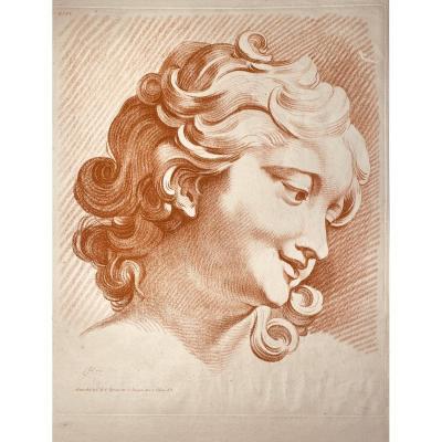 """gravure XVIII en manière de sanguine : """" Tete de femme , grandeur de nature  """""""