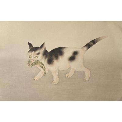 Japanese Print: Cat Holding A Frog