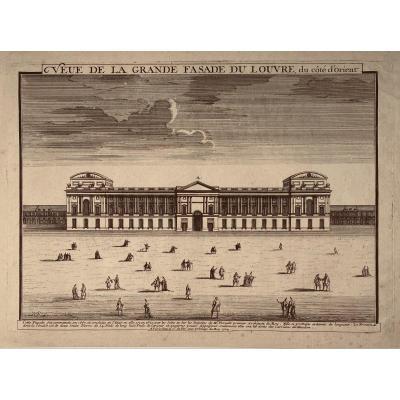Gravure Début XVIII éditée Par Nicolas De Fer : Veue De La Grande Fasade Du Louvre (sic)