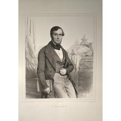 Lithographie : Portrait Du Peintre Joseph Beaume