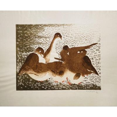 Gravure Sur Bois d'E.Collignon : Les Pigeons