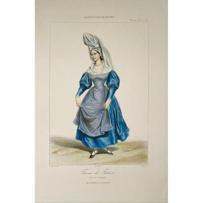 Lithographie XIXè En Couleurs : Femme De Falaise