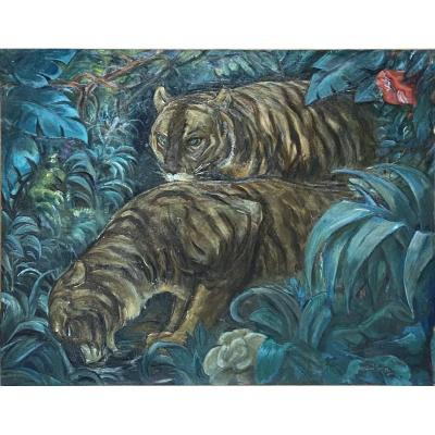 Oil On Canvas By André Collot: Two Tigers Having Thirst
