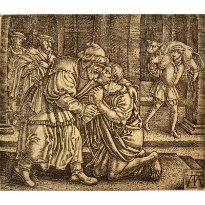 Estampe Ancienne, Le Fils Prodigue : Le Retour Par Le Monogrammiste MT