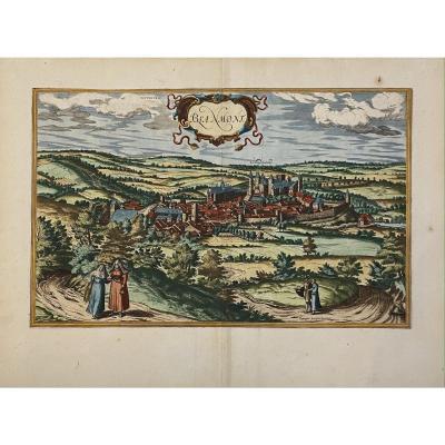 Gravure De Braun Vers 1575 : Vue Cavalière De La Ville De Blanmont
