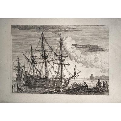 18th Century Print By Manglard: The Vessel In The Harbor