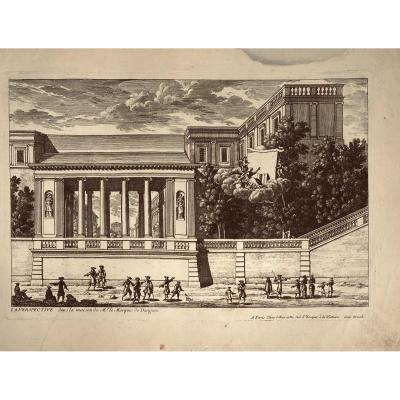 Gravure XVIIè De Paris : La Perspective Dans La Maison De Mr Le Marquis De Dangeau