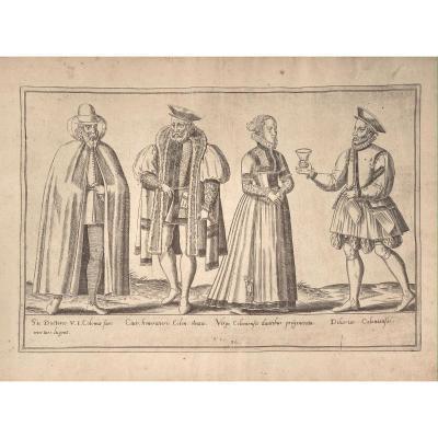 Estampe Ancienne D 'abraham De Bruyn : Costumes