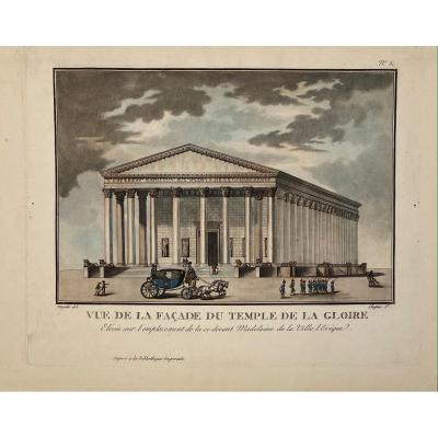 Gravure Ancienne Vue De La Facade Du Temple De La Gloire Ou La Madeleine