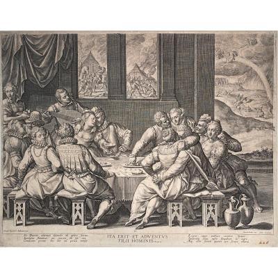 Estampe XVIè De Sadeler : l'Humanite En Attente Du Jugement Dernier