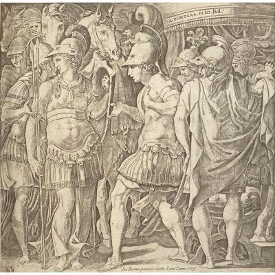 Gravure Ancienne : Alexandre Recevant La Reine Des Amazones, Thalestris