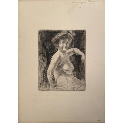 Eau-forte d'Albert Besnard : Femme Blonde A Sa Toilette