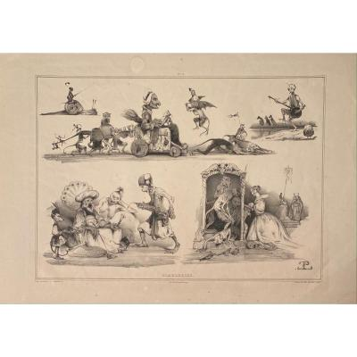 Lithographie d'Eugène Le Poitevin : Diableries N°2