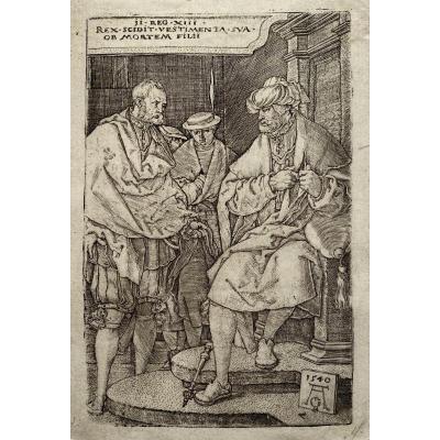 Estampe XVIè d'Aldegrever : David Dechirant Ses Vetements A l'Annonce De La Mort De Son Fils