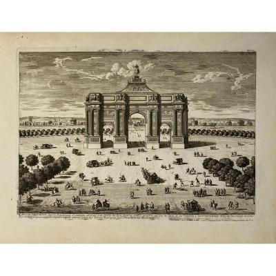 Estampe XVIIè De Perelle :  Arc De Triomphe Hors Le Fauxbourg Saint Antoine
