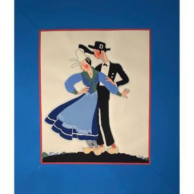 Pochoir Art Deco Couple De Danseurs Bretons