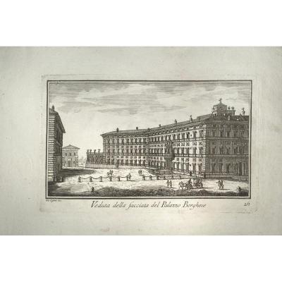 Gravure XVIIIè De Cassini  De Rome : Veduta Della Facciata Del Palazzo Borghese