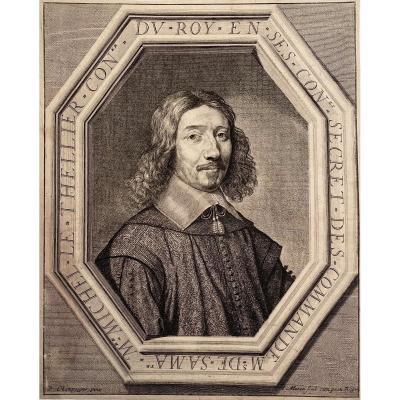 Gravure  XVIIè D'Après Champaigne : Portrait De Michel Le Tellier